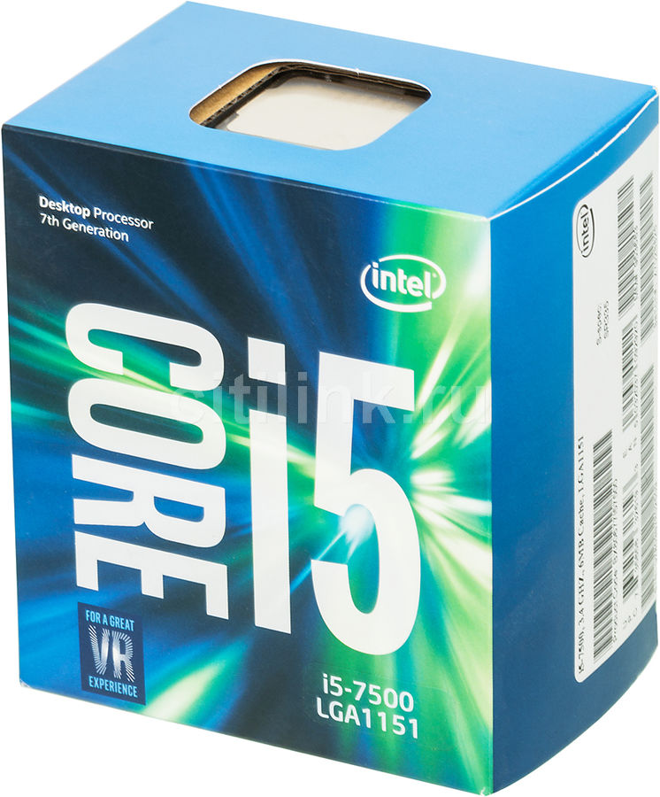 Процессор INTEL Core i5 7500, LGA 1151 BOX [bx80677i57500 s r335] процессор intel core i5 6400 lga 1151 box [bx80662i56400 s r2l7]