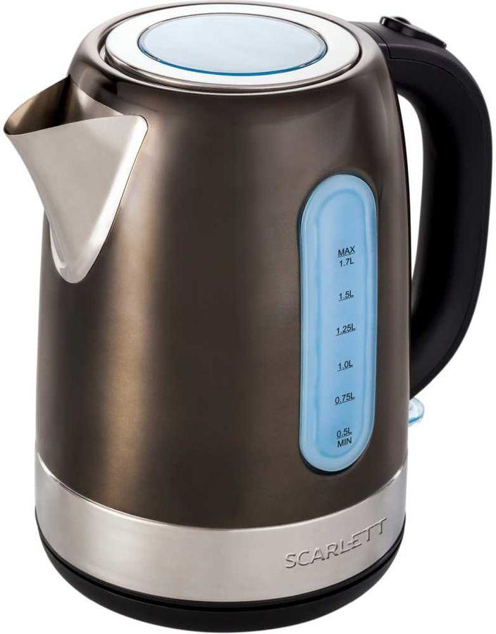 Чайник электрический SCARLETT SC-EK21S39, 2200Вт, коричневый