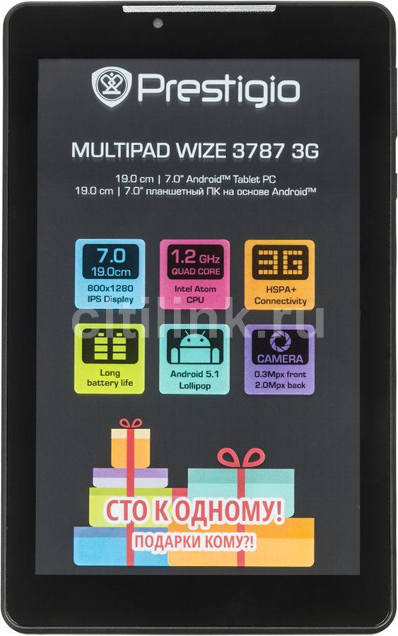 Планшет PRESTIGIO MultiPad Wize 3787,  1GB, 16GB, 3G,  Android 5.1 темно-серый [w1pmt37873gddgcis]