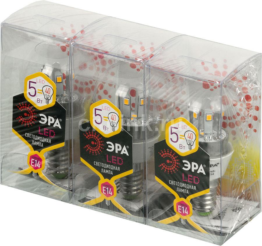 Лампа ЭРА P45-5w-827-E14, 5Вт, 420lm, 30000ч,  2700К, E14,  3 шт. [б0018391]