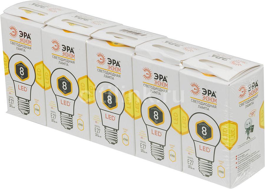 Лампа ЭРА ECO A60-8w-827-E27, 8Вт, 560lm, 25000ч,  2700К, E27,  5 шт. [б0026437]