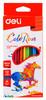 Карандаши цветные Deli ColoRun EC00100 трехгран. пластик 12цв. коробка/европод.