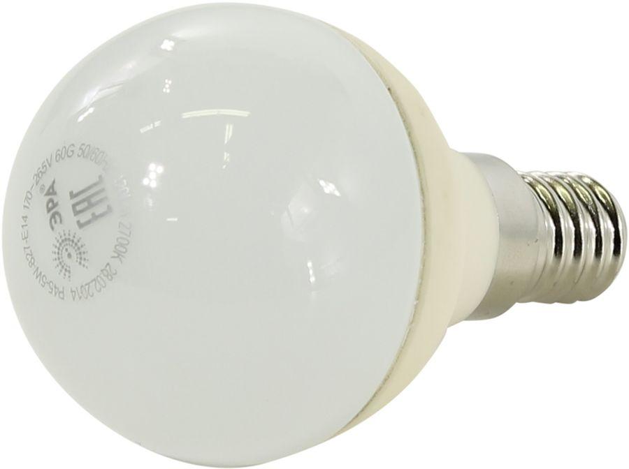 Лампа ЭРА P45-5w-827-E14, 5Вт, 420lm, 30000ч,  2700К, E14,  6 шт. [б0017217]
