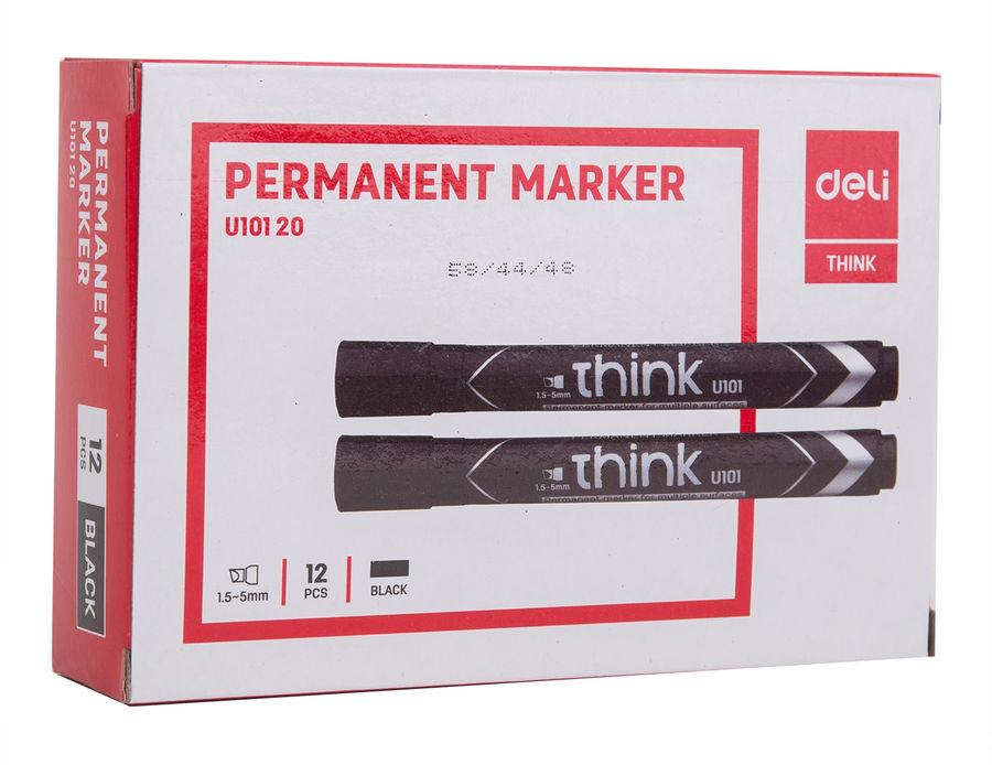Маркер перманентный Deli EU10120 Think скошенный пиш. наконечник 1.5-5мм черный
