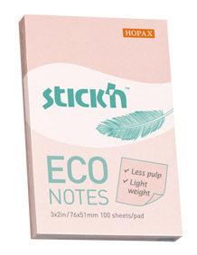 Блок самоклеящийся бумажный Stick`n ECO 21742 51x76мм 100лист. 60г/м2 пастель розовый