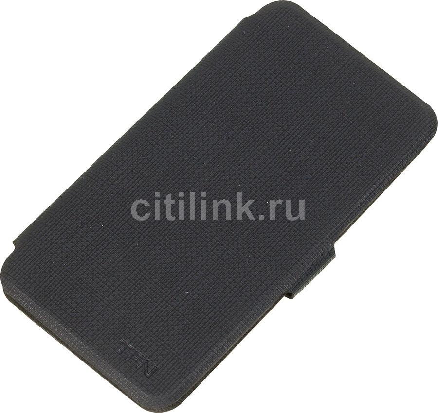 Чехол (флип-кейс)  FlipCover, для Alcatel Pixi 4 4034D, темно-серый [tfn-bc-01-016puch1]