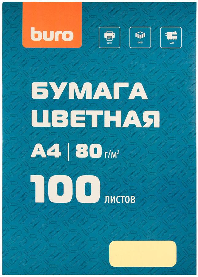Бумага Buro A4/80г/м2/100л./желтый пастель матовое общего назначения(офисная)