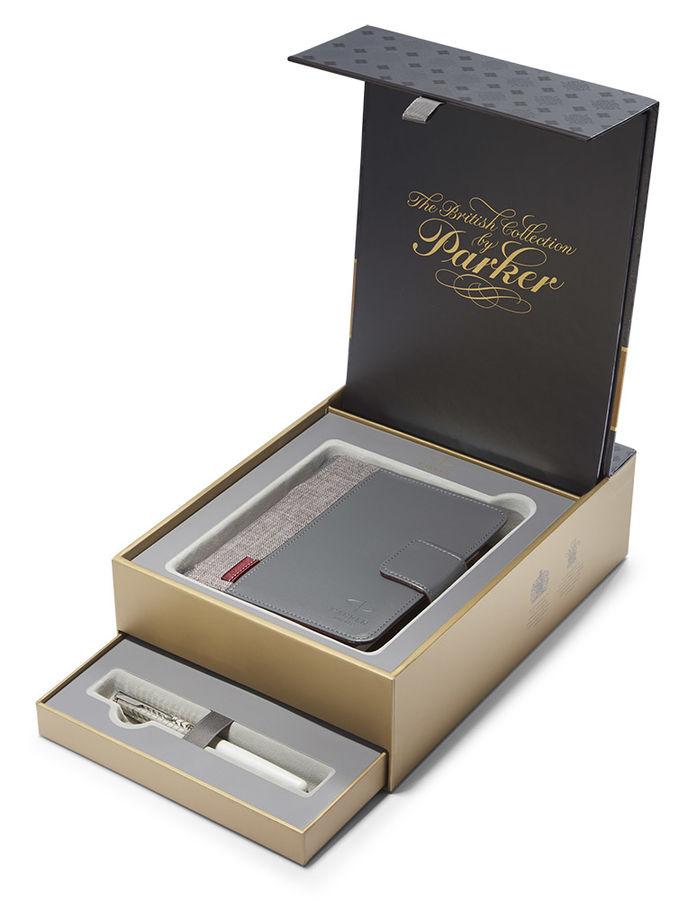 Набор Parker Sonnet F540 (1978406) Pearl Metal PGT ручка перьевая F в компл.:органайзер