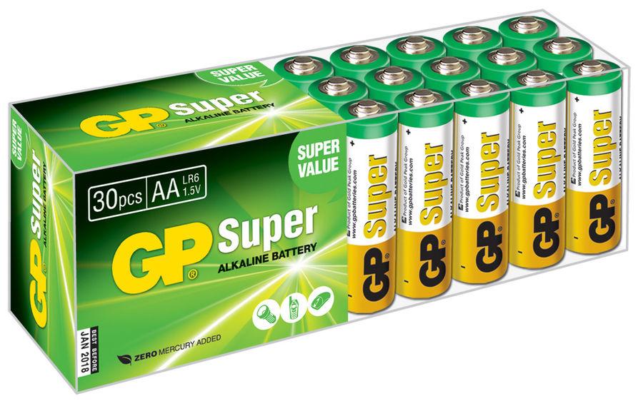 AA Батарейка GP Super Alkaline 15A LR6,  30 шт.