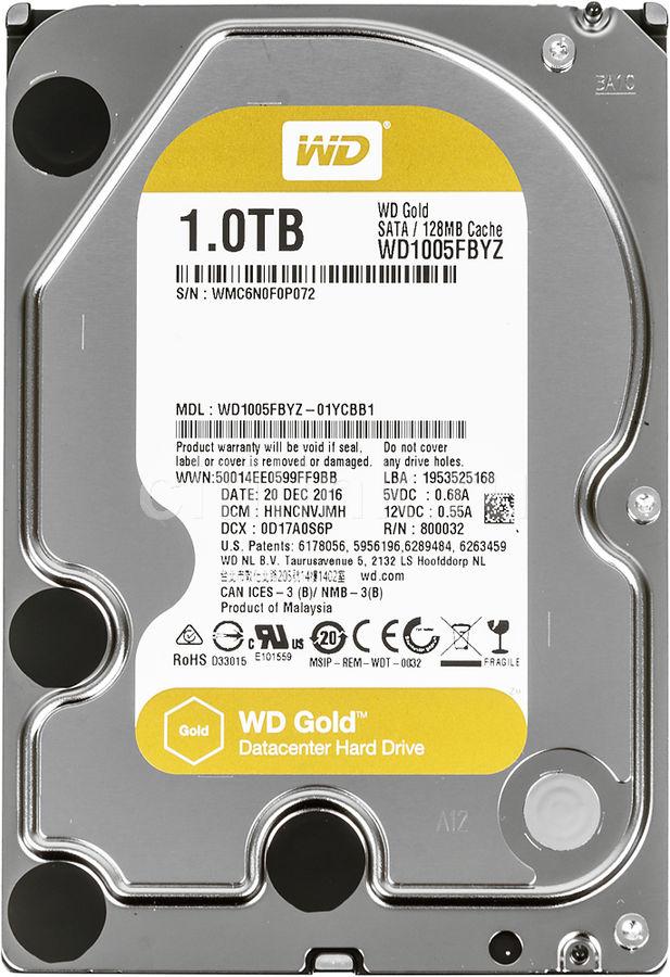 """Жесткий диск WD Gold WD1005FBYZ,  1Тб,  HDD,  SATA III,  3.5"""""""