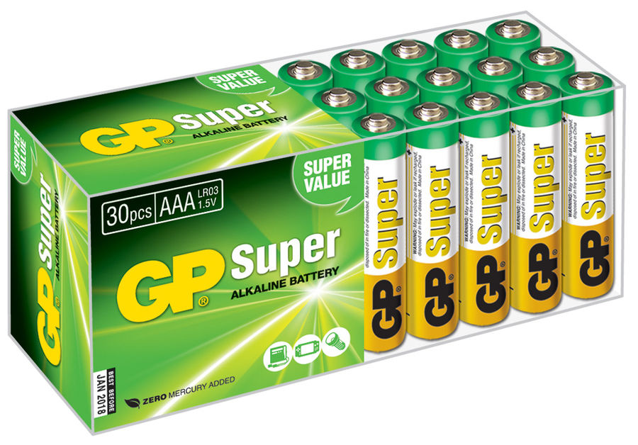 Батарейка GP Super Alkaline 24A LR03, 30 шт. AAA батарейка gp super alkaline аaа lr03 4 шт 24а bc4