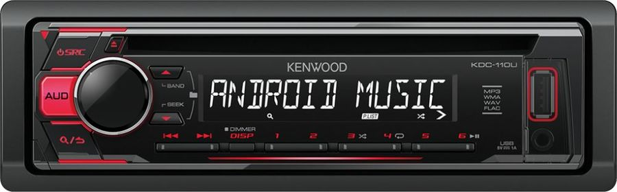 Автомагнитола KENWOOD KDC-110UR, USB автомагнитола kenwood kdc bt500u usb mp3 cd fm rds 1din 4х50вт черный