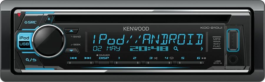 Автомагнитола KENWOOD KDC-210UI, USB автомагнитола kenwood kdc 151ry usb mp3 cd fm 1din 4х50вт черный