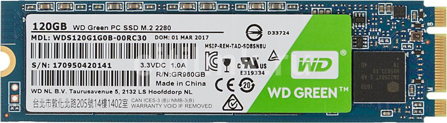 SSD накопитель WD Green WDS120G1G0B 120Гб, M.2 2280, SATA III