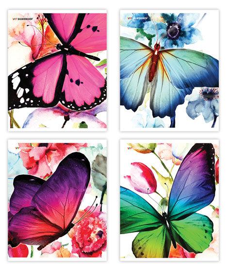 Тетрадь Silwerhof 811425-55 48л. клет. A5 Butterflies 4диз. мел.карт. выб.лак скрепка