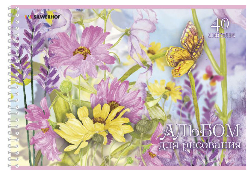 Альбом для рисования Silwerhof 911128-74 40л. A4 Нежные цветы 1диз. мел.картон гребень