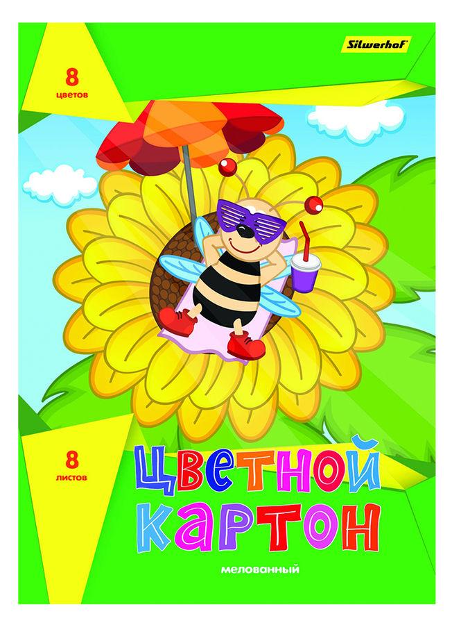 Картон цветной Silwerhof 918106-14 мелов. 8цв./8л. A4 Подсолнух 230г/м2 1диз. обл.мел.картон папка