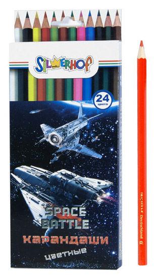 Карандаши цветные Silwerhof 134117-24 Space Battle шестигран. 2.8мм 24цв. коробка/европод.