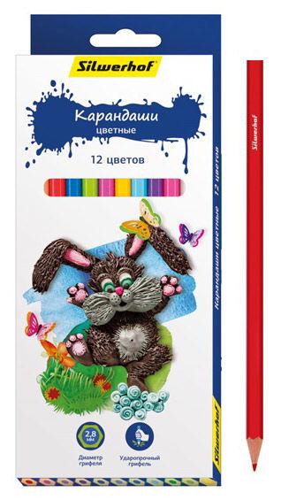 Карандаши цветные Silwerhof 134195-12 Пластилиновая коллекция шестигран. 2.8мм 12цв. коробка/европод