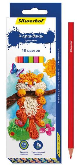 Карандаши цветные Silwerhof 134195-18 Пластилиновая коллекция шестигран. 2.8мм 18цв. коробка/европод