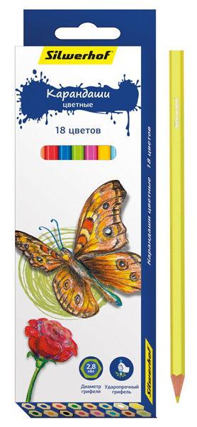Карандаши цветные Silwerhof 134196-18 Бабочки шестигран. 2.8мм 18цв. коробка/европод.