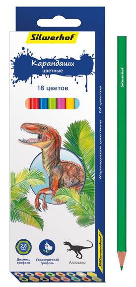 Карандаши цветные Silwerhof 134197-18 Динозавры шестигран. 2.8мм 18цв. коробка/европод.