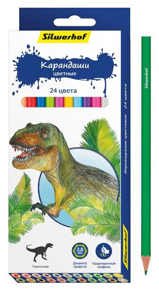 Карандаши цветные Silwerhof 134197-24 Динозавры шестигран. 2.8мм 24цв. коробка/европод.