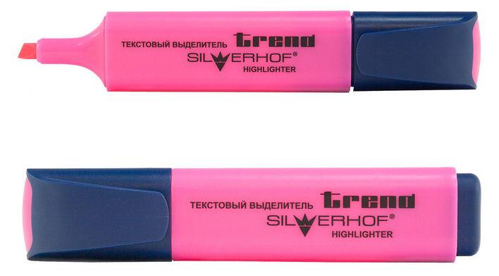 Текстовыделитель Silwerhof TREND 103001-20 скошенный пиш. наконечник 1-5мм розовый коробка