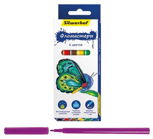 Фломастер Silwerhof 867200-06 Бабочки 8мм 129мм пулевидный пиш. наконечник (толщина линии 1мм) венти