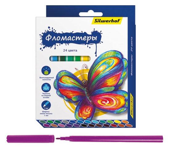 Фломастеры Silwerhof 867200-24 Бабочки 8мм 129мм Вентилируемый 24цв. коробка с европодвесом