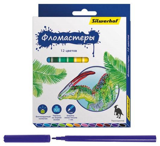 Фломастеры Silwerhof 867201-12 Динозавры 8мм 129мм Вентилируемый 12цв. коробка с европодвесом