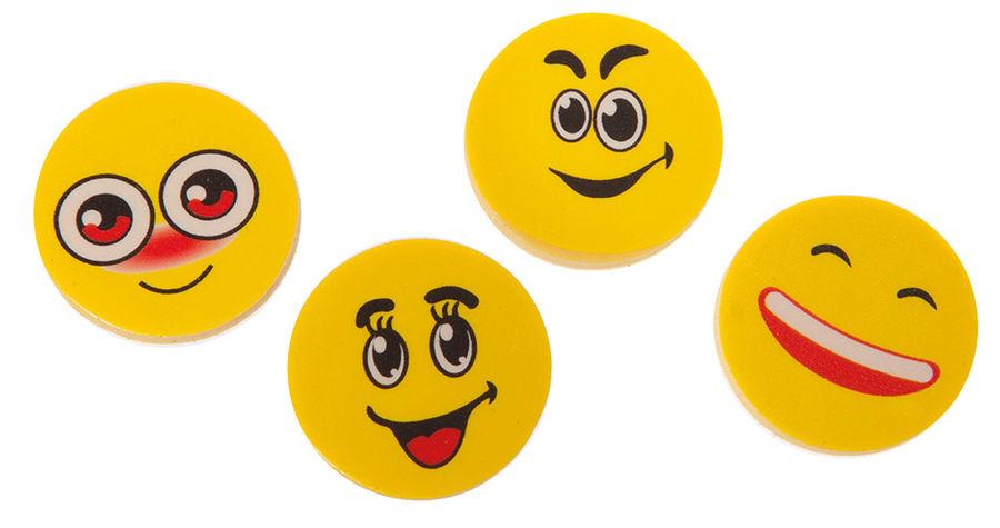 Набор ластиков Silwerhof Смайлы 182023 круглый 25x25x5мм каучук синтетический желтый (4шт)