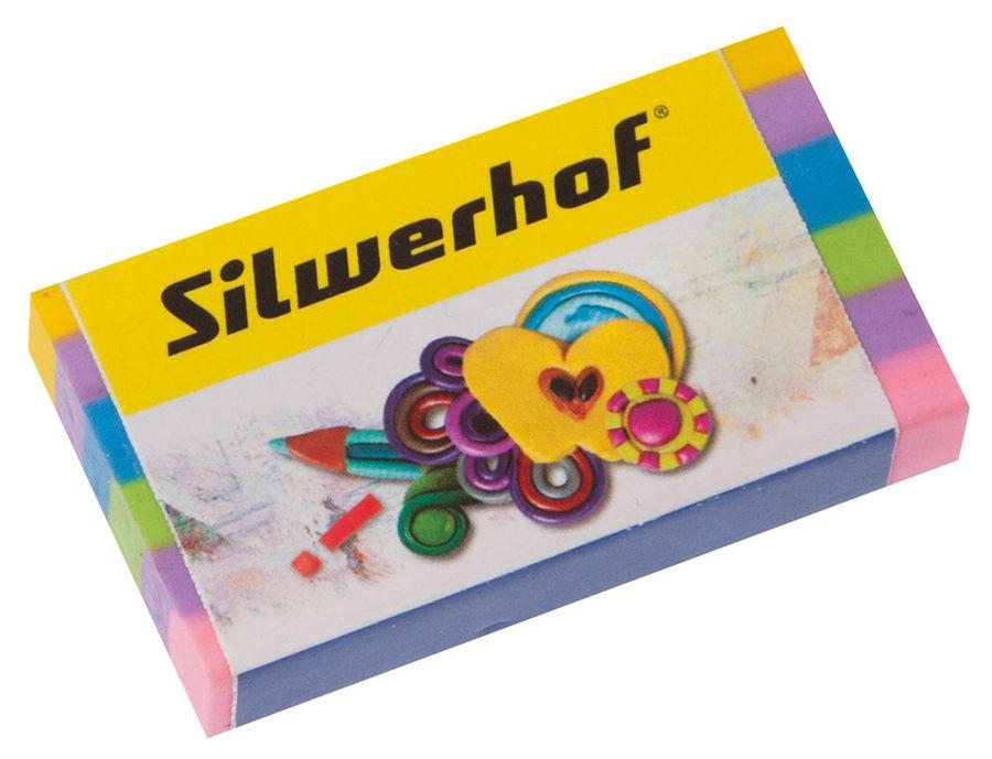 Ластик Silwerhof 181115 Пластилиновая коллекция 60x28x10мм каучук ассорти индивидуальная картонная у