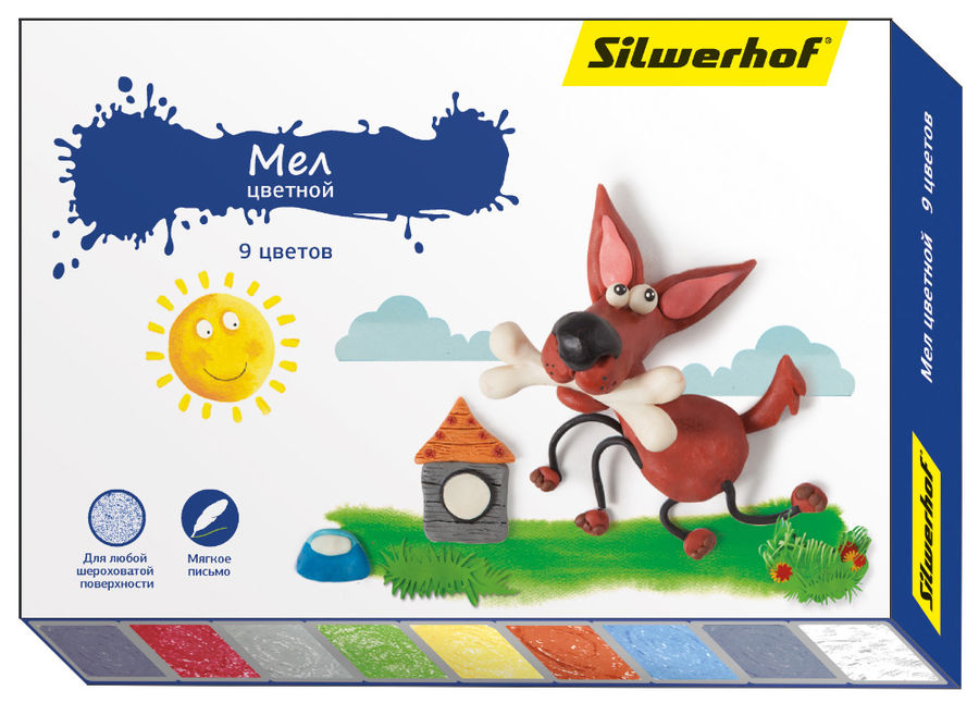 Мел цветной Silwerhof 882081-09 Пластилиновая кол-ция 9цв.