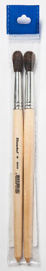 Кисть Silwerhof 981125 Пластилиновая кол-ция худож. белка круг. №8 дерев.лакир.ручка