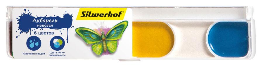 Краски акварельные Silwerhof 961124-06 Бабочки медовые 6цв. без кисти пласт.пен.