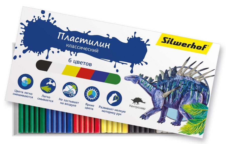 Пластилин Silwerhof 956148-06 Динозавры 6цв. 90гр. картон.кор.