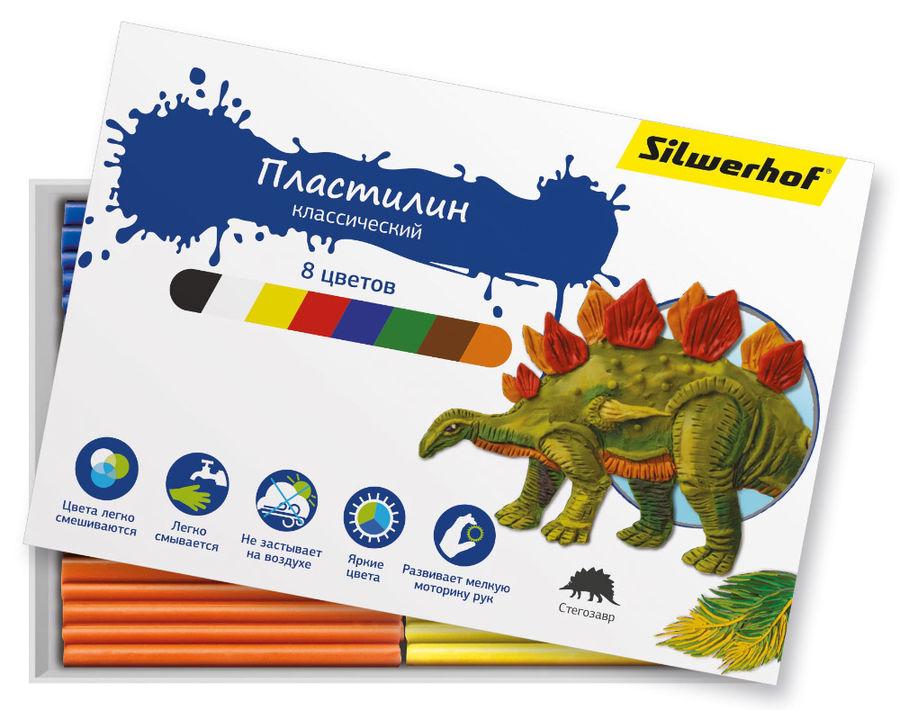 Пластилин Silwerhof 956148-08 Динозавры 8цв. 120гр. картон.кор.