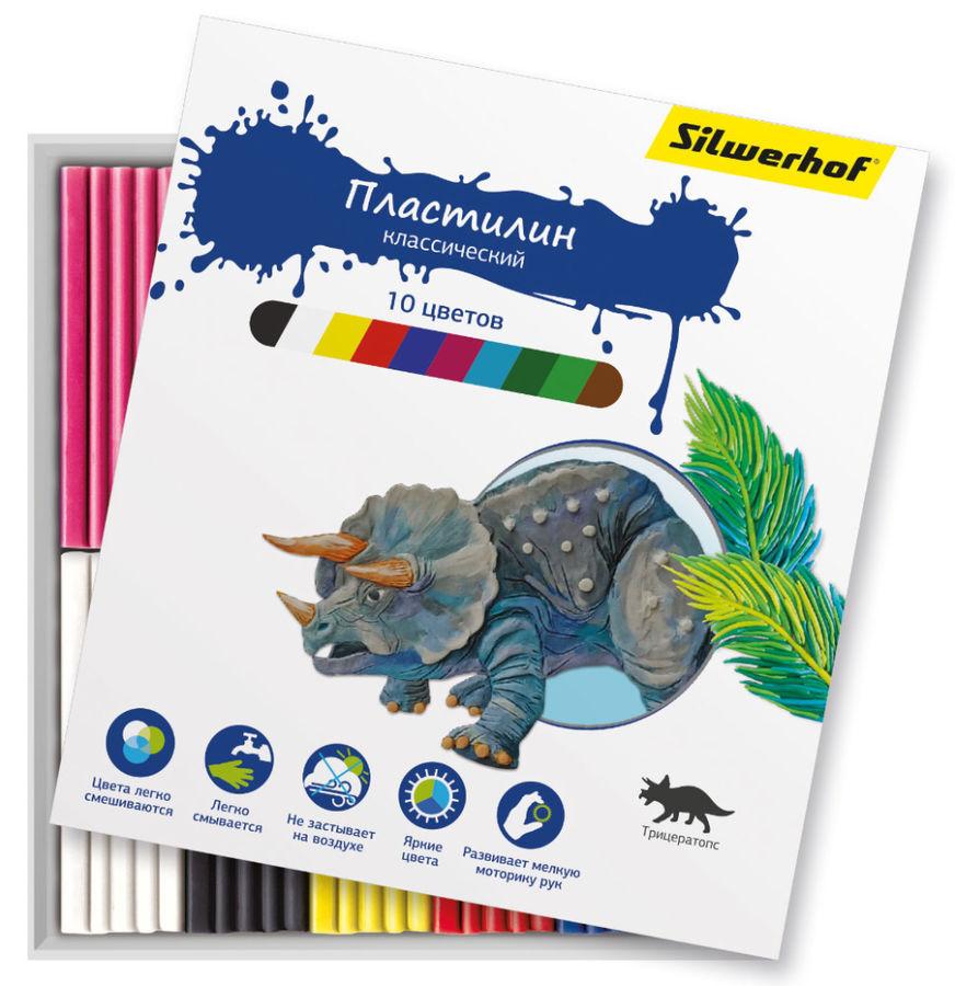 Пластилин Silwerhof 956148-10 Динозавры 10цв. 150гр. картон.кор.