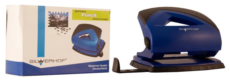 Дырокол Silwerhof SHARK 391017-23 макс.:20лист. пластик синий отв.:2 с линейкой