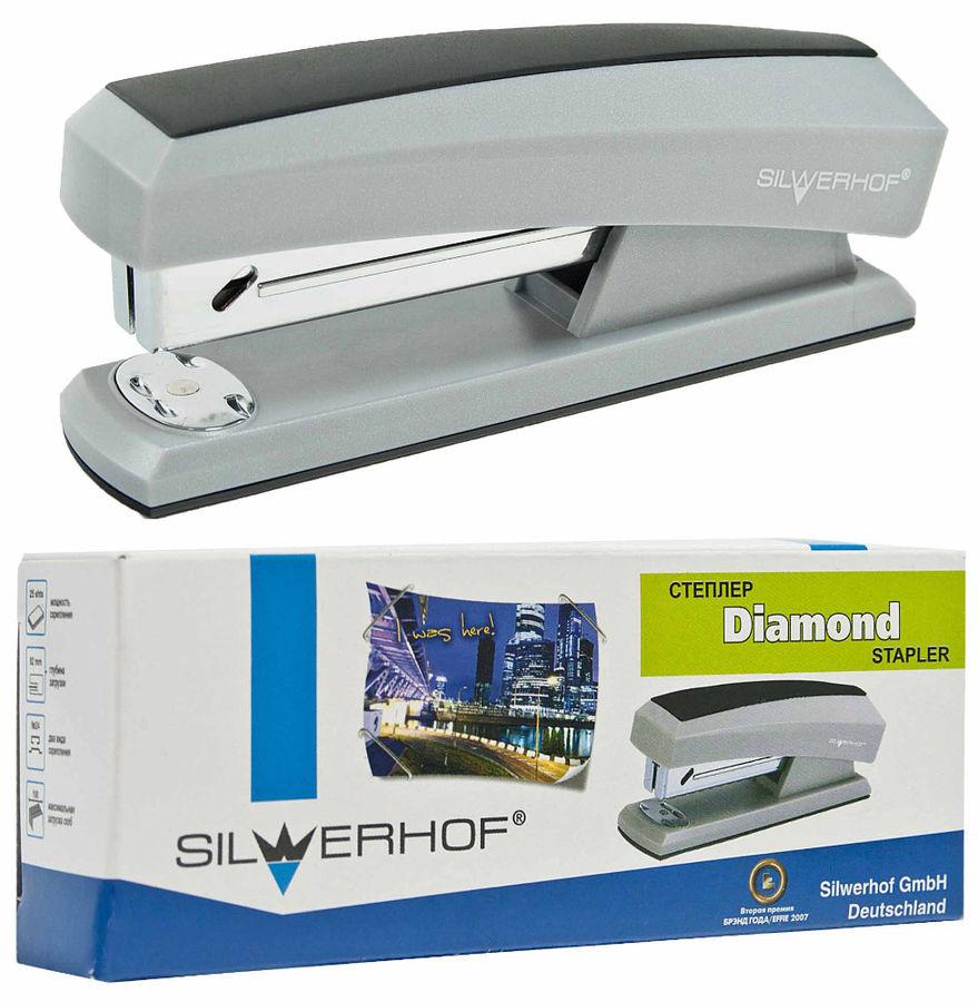 Степлер Silwerhof 400004-01 DIAMOND 24/6 26/6 (25листов) серый/черный 100скоб
