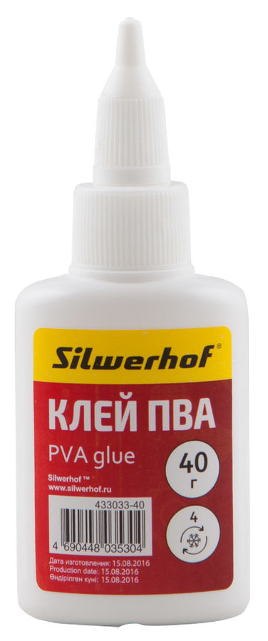 Клей ПВА Silwerhof 433033-40 40гр морозоустойчивый