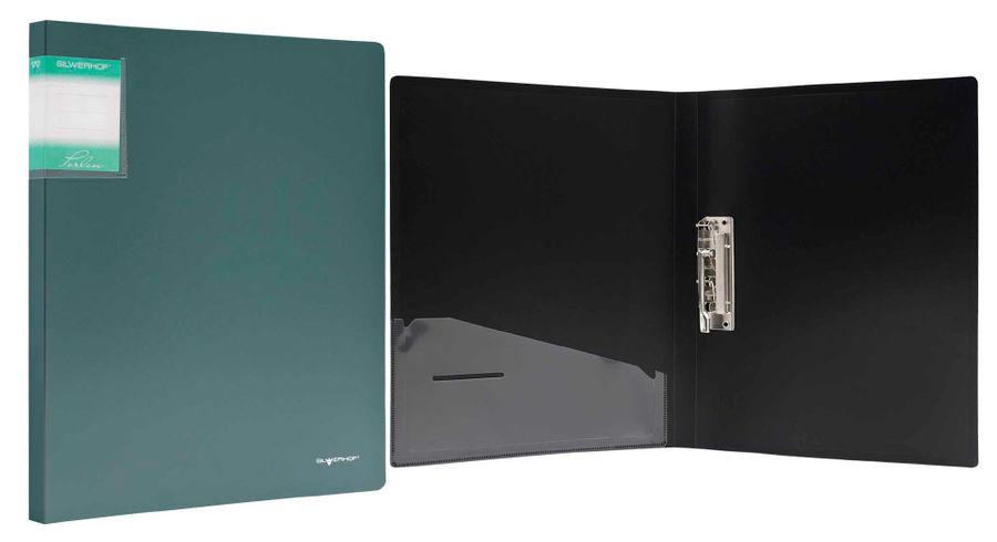 Папка с метал.зажим Silwerhof Perlen 281903-75 A4 0.7мм внут.и торц.карм зеленый металлик