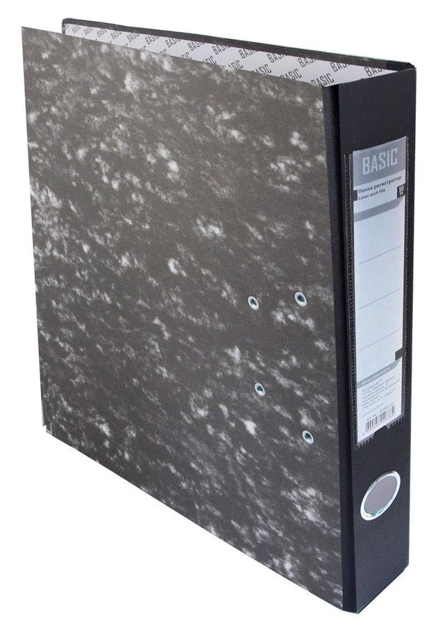 Папка-регистратор Silwerhof Basic 355001-01 A4 50мм картон черный мрамор мет.окант. разборная