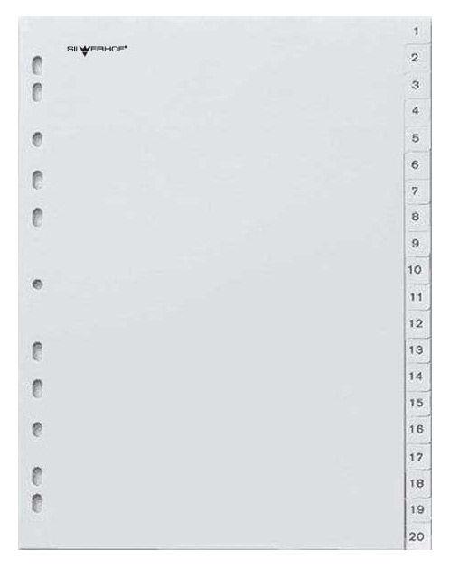 Разделитель индексный Silwerhof 384003 A4 пластик 1-20 серые разделы
