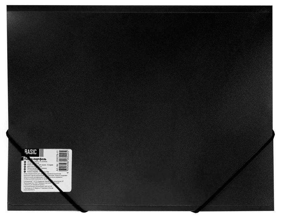 Папка-портфель на резинке Silwerhof Basic 255078-01 13 отдел. A4 песок пластик 0.7мм черный