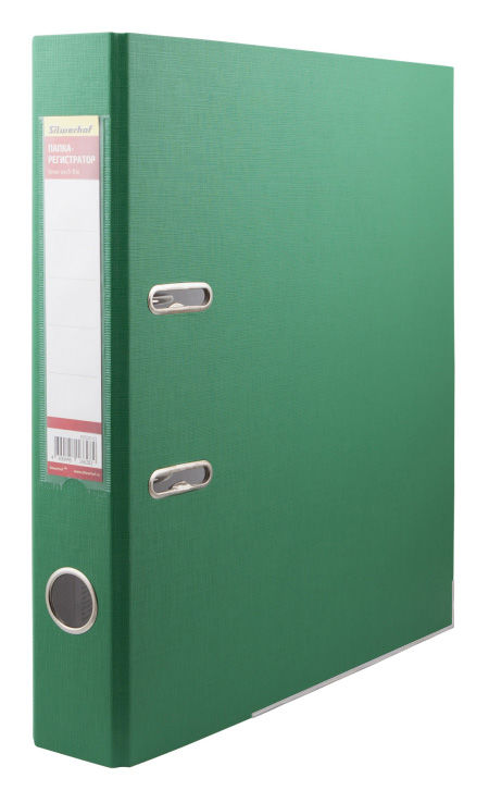 Папка-регистратор Silwerhof 355020-03 A4 50мм ПВХ/бумага зеленый мет.окант. смен.карм. на кор.