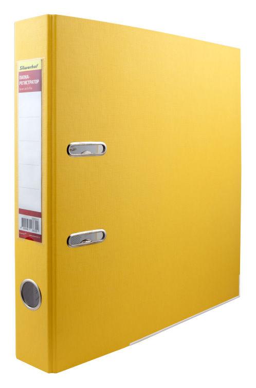 Папка-регистратор Silwerhof 355020-05 A4 50мм ПВХ/бумага желтый мет.окант. смен.карм. на кор.