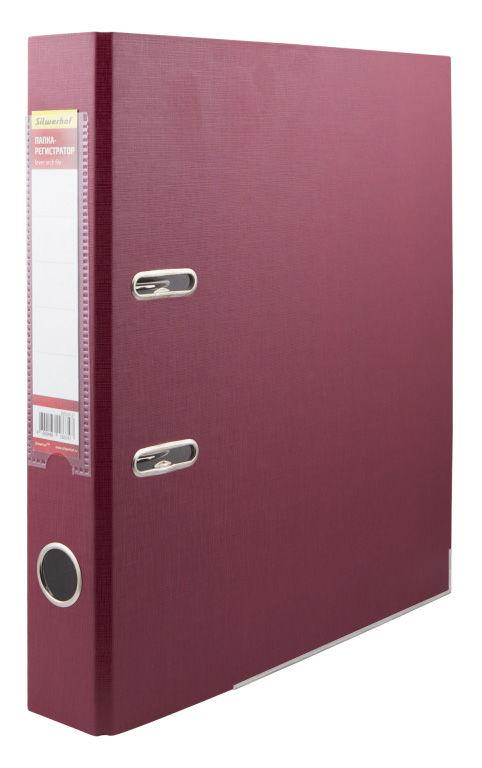 Папка-регистратор Silwerhof 355020-27 A4 50мм ПВХ/бумага бордовый мет.окант. смен.карм. на кор.