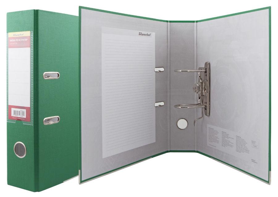 Папка-регистратор Silwerhof 355021-03 A4 75мм ПВХ/бумага зеленый мет.окант. смен.карм. на кор.